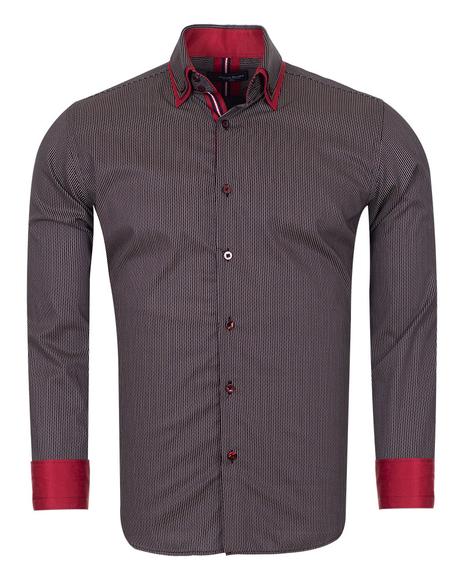 Double Collar Striped Mens Long Sleeved Mens Shirt SL 6741