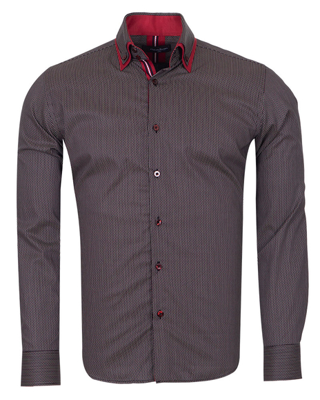 Oscar Banks - Double Collar Striped Mens Long Sleeved Shirt SL 6741