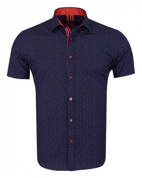 MAKROM - Floral and Polka Dot Printed Short Sleeved Shirt SS 6689 (Thumbnail - )