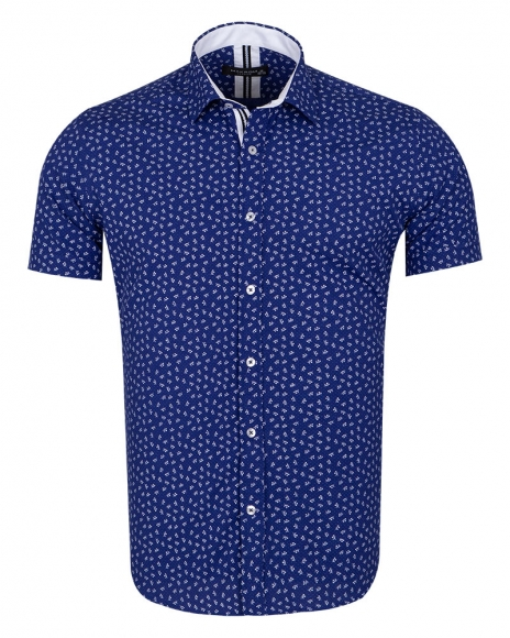 MAKROM - Floral and Polka Dot Printed Short Sleeved Shirt SS 6689 (1)