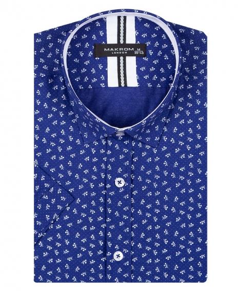 Floral and Polka Dot Printed Short Sleeved Shirt SS 6689
