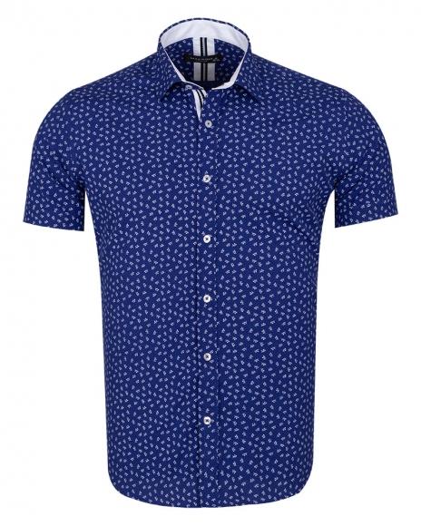 MAKROM - Floral and Polka Dot Printed Short Sleeved Shirt SS 6689 (Thumbnail - )
