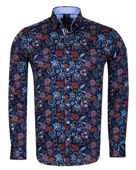 Oscar Banks - Floral Printed Black Long Sleeved Mens Shirt SL 6709
