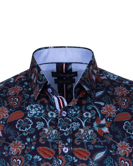 Floral Printed Black Long Sleeved Mens Shirt SL 6709
