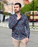 Floral Printed Black Long Sleeved Mens Shirt SL 6709 - Thumbnail