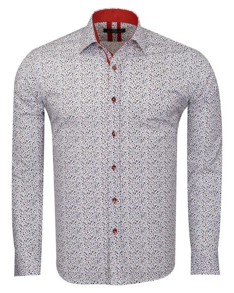 MAKROM - Floral Printed Long Sleeved Mens Shirt SL 6811 (Thumbnail - )