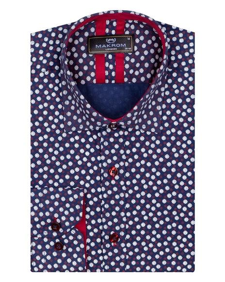 Floral Printed Long Sleeved Mens Shirt SL 6823