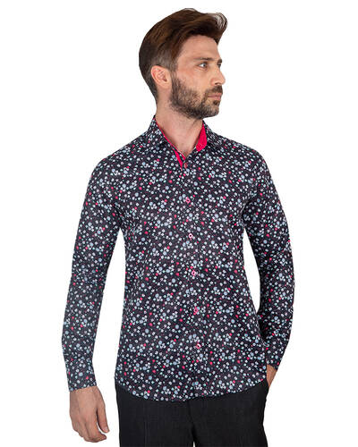 MAKROM - Floral Printed Long Sleeved Mens Shirt SL 7087