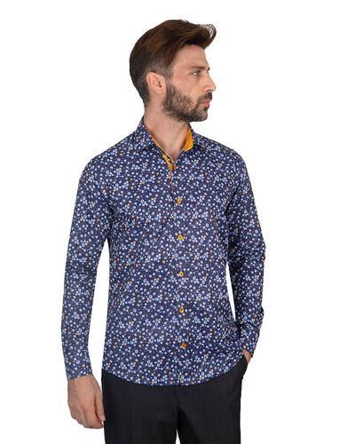 MAKROM - Floral Printed Long Sleeved Mens Shirt SL 7087 (Thumbnail - )
