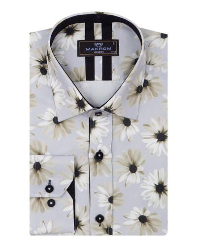 MAKROM - Floral Printed Long Sleeved Mens Shirt SL 7090
