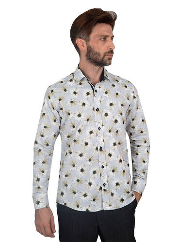 MAKROM - Floral Printed Long Sleeved Mens Shirt SL 7090 (1)