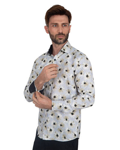 MAKROM - Floral Printed Long Sleeved Mens Shirt SL 7090 (Thumbnail - )