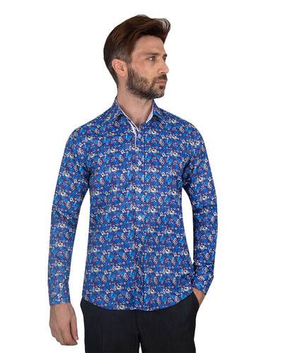 MAKROM - Floral Printed Mens Shirt SL 7084