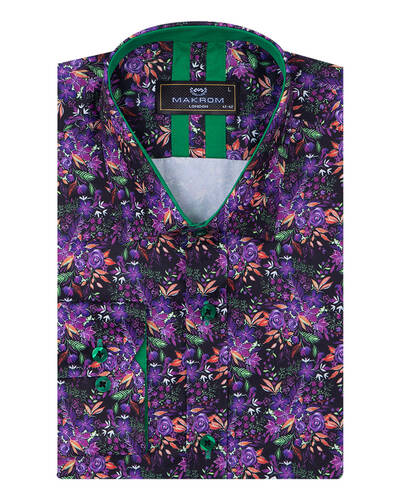MAKROM - Floral Printed Mens Shirt SL 7088
