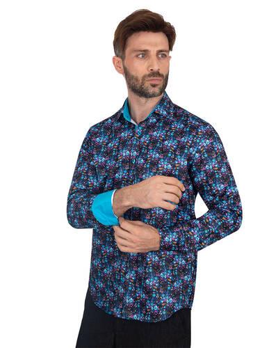 MAKROM - Floral Printed Mens Shirt SL 7088 (Thumbnail - )