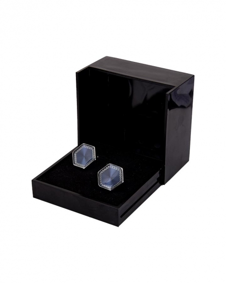 MAKROM - Hexagon Blue Enamel Cufflinks C 07