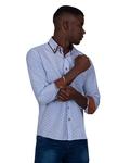 Honeycomb Patterned Long Sleeved Double Collar Mens Shirt SL 6814 - Thumbnail