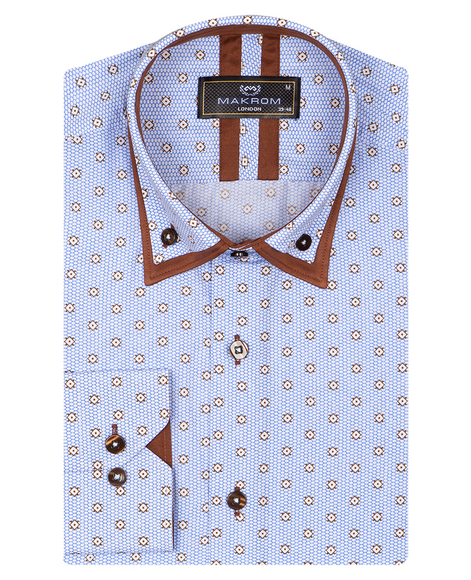 Honeycomb Patterned Long Sleeved Double Collar Mens Shirt SL 6814