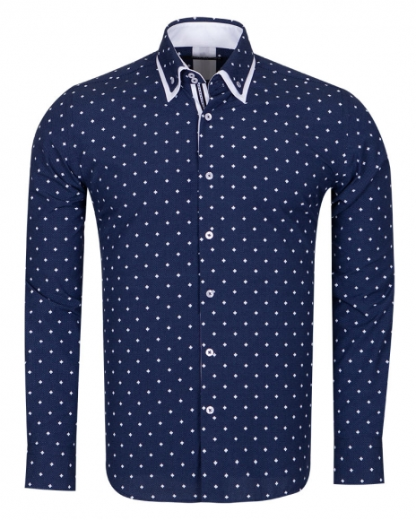 Leaf and Polka Dot Printed Long Sleeved Mens Double Collar Shirt SL 6677