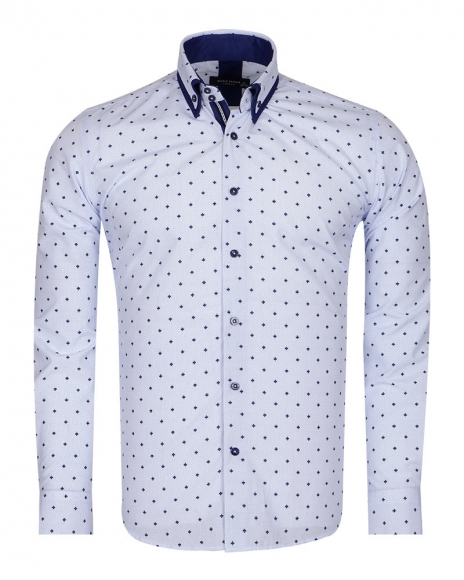 MAKROM - Leaf and Polka Dot Printed Long Sleeved Shirt SL 6677 (Thumbnail - )