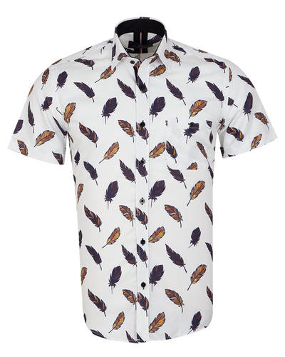 MAKROM - Feathers Printed Short Sleeved Shirt SS 7055