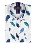 Feathers Printed Short Sleeved Shirt SS 7055 - Thumbnail