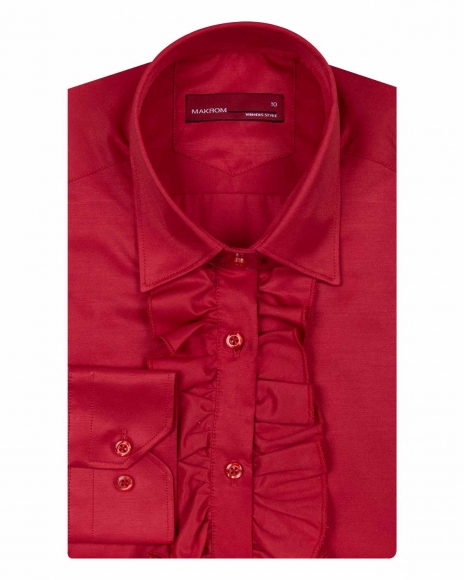 MAKROM - Long Sleeved Womens Shirt with Placket Details LL 3291 (Thumbnail - )