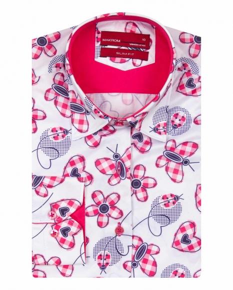 MAKROM - Butterfly Printed Long Sleeved Womens Shirt LL 3292 (Thumbnail - )