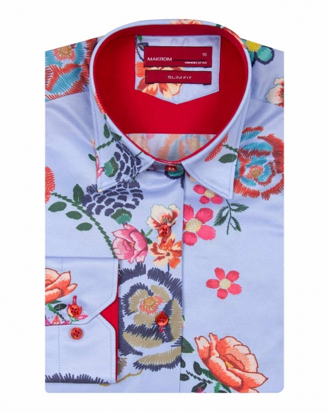 MAKROM - Floral Printed Long Sleeved Womens Shirt LL 3293 (1)