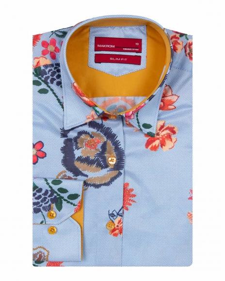 MAKROM - Floral Printed Long Sleeved Womens Shirt LL 3294 (1)