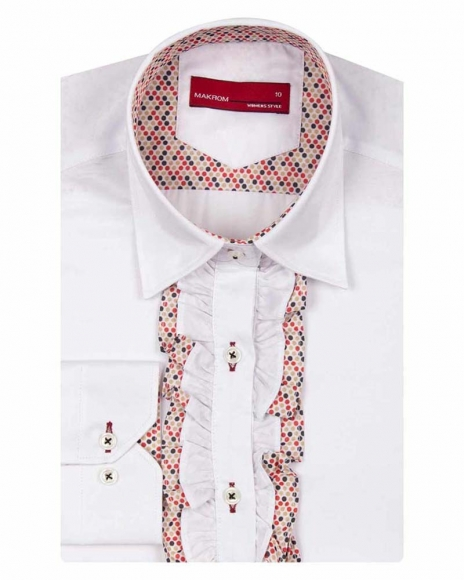 MAKROM - Long Sleeved Womens Shirt with Placket Details LL 3298 (1)