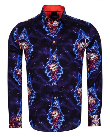 Oscar Banks - Long Sleeved Mens Shirt With Blue Light Pattern SL 6712 (1)