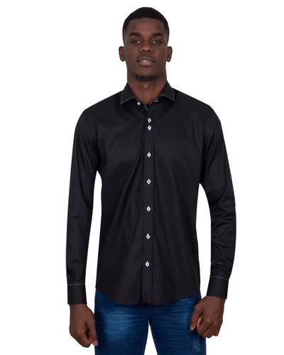 Oscar Banks - Long Sleeved Mens Shirt With Collar Contrast SL 7027