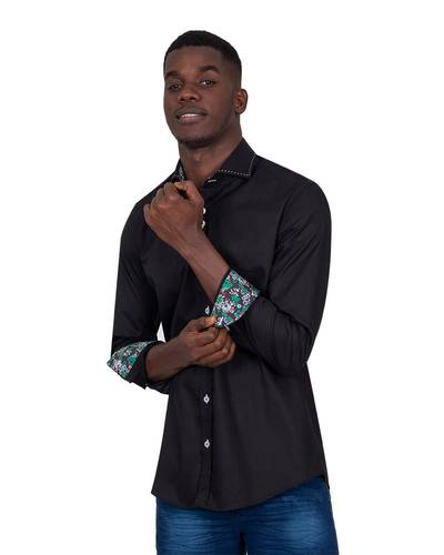 Long Sleeved Mens Shirt With Collar Contrast SL 7027
