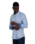 Long Sleeved Mens Shirt With Collar Contrast SL 7027 - Thumbnail