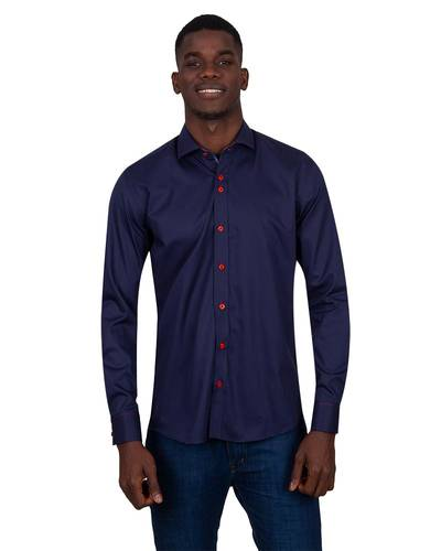Oscar Banks - Long Sleeved Mens Shirt With Collar Contrast SL 7027 (Thumbnail - )