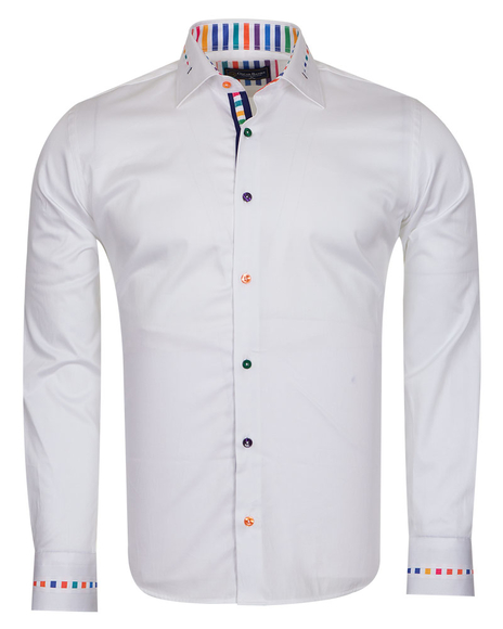 Oscar Banks - Long Sleeved Mens Shirt With Striped Details SL 6621