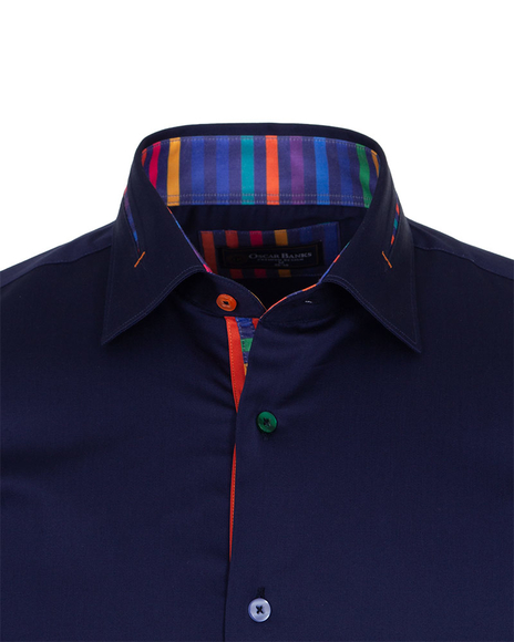 Long Sleeved Mens Shirt With Striped Details SL 6621