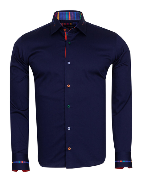 Oscar Banks - Long Sleeved Mens Shirt With Striped Details SL 6621 (Thumbnail - )