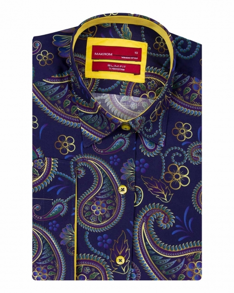 MAKROM - Paisley Printed Women 3/4 Sleeved Shirt LS 4124 (Thumbnail - )