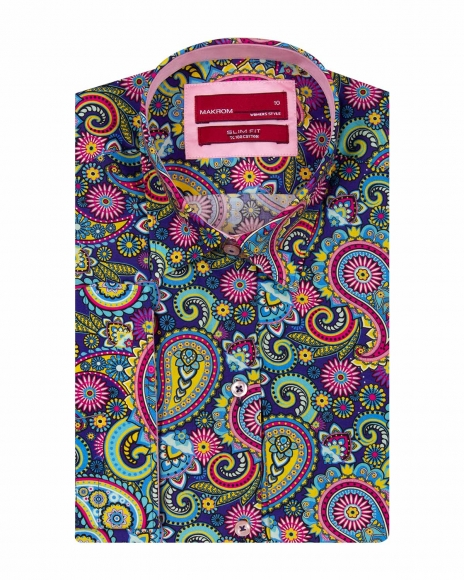 MAKROM - Paisley Printed Women 3/4 Sleeved Shirt LS 4127 (Thumbnail - )
