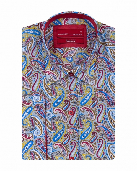 MAKROM - Paisley Printed Women 3/4 Sleeved Shirt LS 4129 (Thumbnail - )