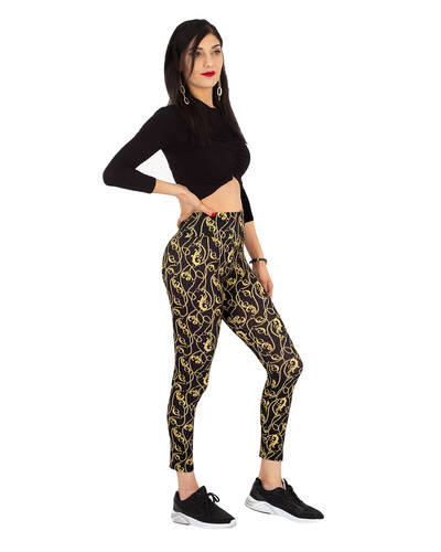 MAKROM - Luxury Black and Gold Womens Leggings TY 004