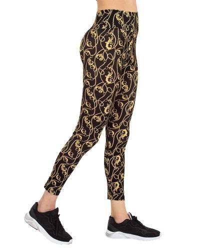 MAKROM - Luxury Black and Gold Womens Leggings TY 004 (Thumbnail - )