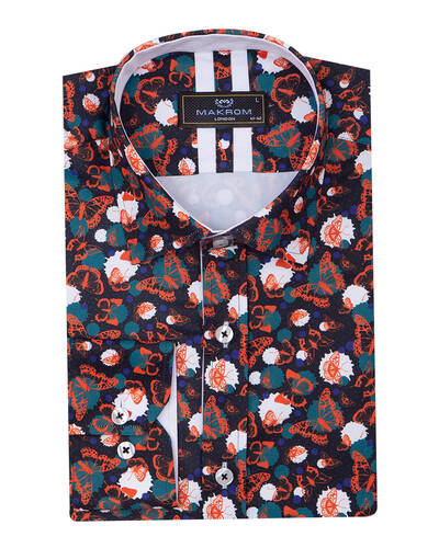Luxury Butterfly Printed Long Sleeved Mens Shirt SL 7086