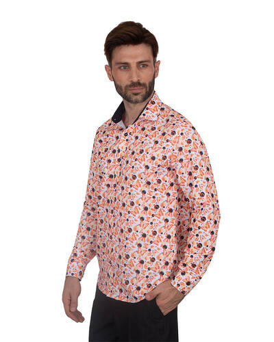 MAKROM - Luxury Butterfly Printed Long Sleeved Mens Shirt SL 7086 (1)