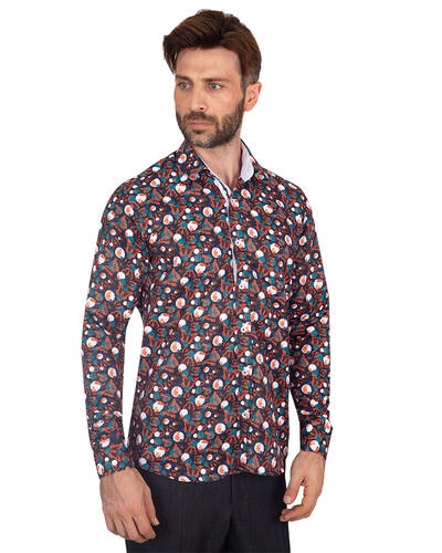 MAKROM - Luxury Butterfly Printed Long Sleeved Mens Shirt SL 7086 (Thumbnail - )