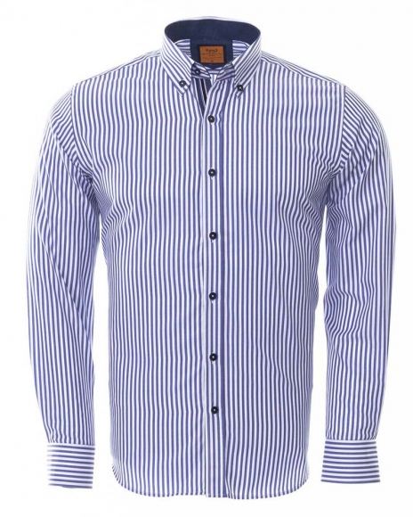 MAKROM - Luxury Button Down Collar Striped Long Sleeved Mens Shirt SL 6480