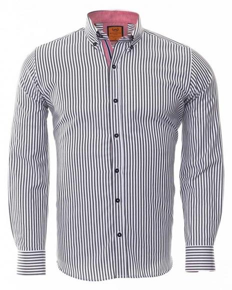 MAKROM - Luxury Button Down Collar Striped Long Sleeved Mens Shirt SL 6480 (Thumbnail - )