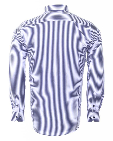 MAKROM - Luxury Button Down Collar Striped Long Sleeved Mens Shirt SL 6480 (1)